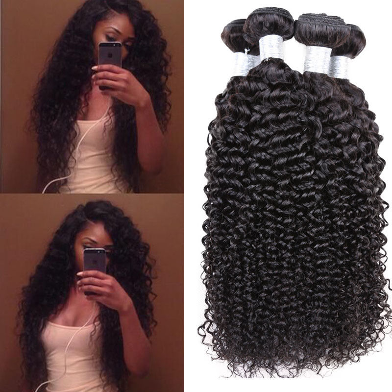 Kinky Curly Peruvian Human Hair Weave , 6A / 5A Peruvian Virgin Hair For Aunty