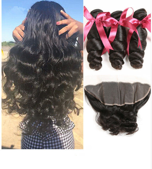 No Tangle Loose Wave 1B 100 Virgin Human Hair Extensions 100 Grams / Piece